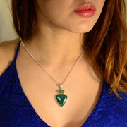 Green Tourmaline Crystal & Chrome Chalcedony Pendant