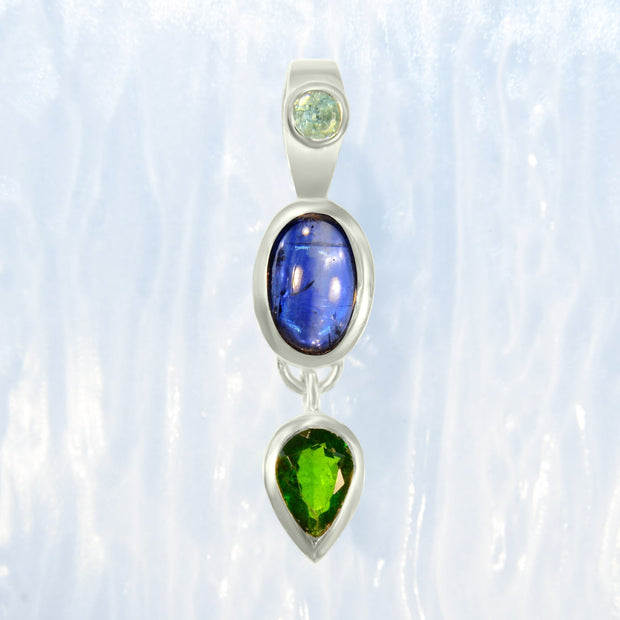 Aquamarine, Blue Kyanite & Chrome Diopside Pendant