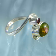 Watermelon Tourmaline Sterling Silver Ring Size 6 1/2