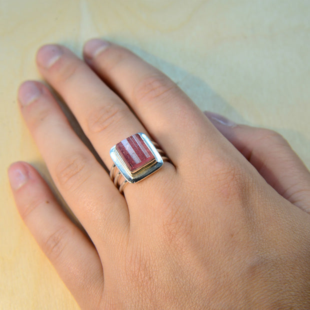 Natural Pink Tourmaline Crystal Ring Size 6 1/2