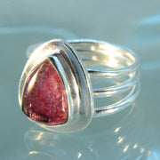 Trillion Rubellite Tourmaline Size 8 Ring