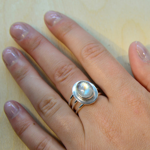 Rainbow Moonstone Size 6 ½ Silver Ring