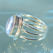 Blue Moonstone Size 7 Silver Ring - Arkadia Designs