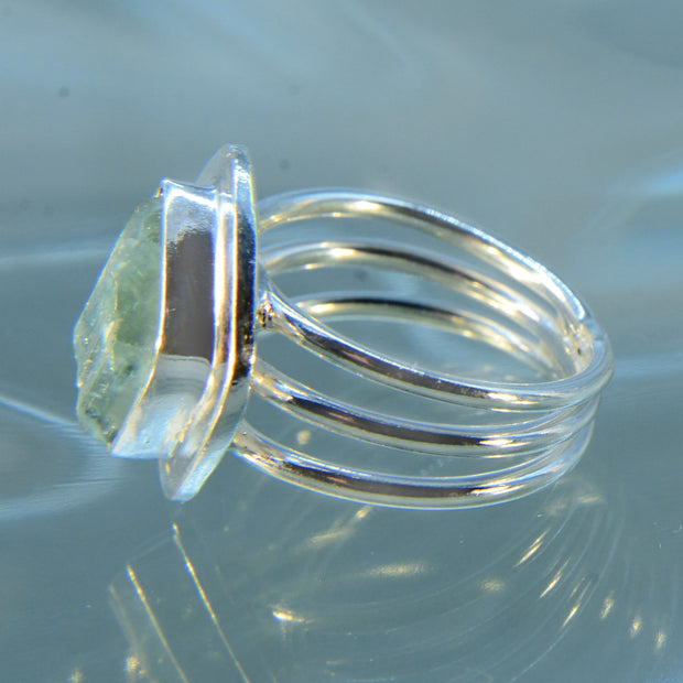 Natural Aquamarine Crystal Size 6 ½ Ring