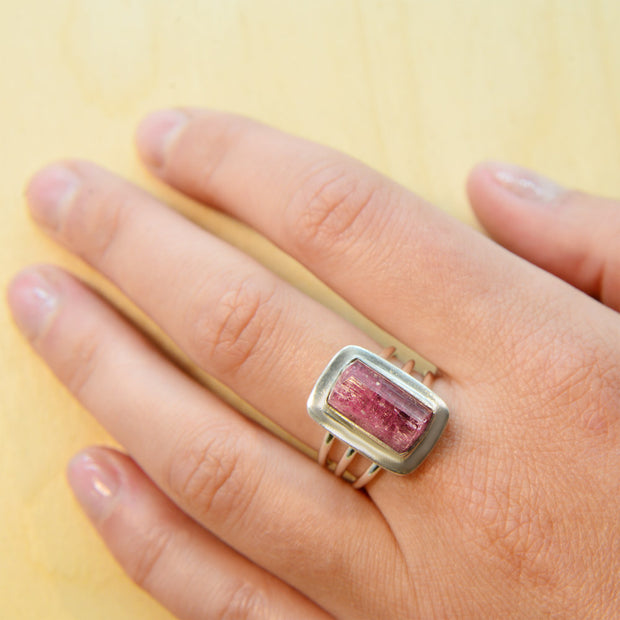Natural Pink Tourmaline Crystal Ring Size 6