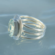 Sparkling Aquamarine Faceted Ring Size 7 1/2
