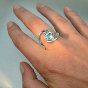 Rubellite Tourmaline & Faceted Aquamarine Gemstone Size 8 ½ Ring