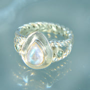Rainbow Moonstone & Aquamarine Gemstone Ring Size 8