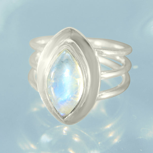 Rainbow Moonstone Gem Silver Ring Size 7 1/2