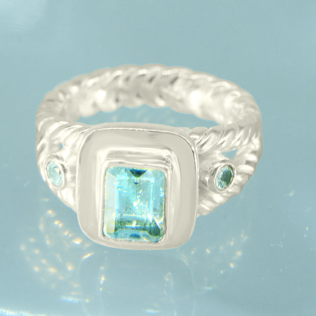 Faceted Aquamarine Silver Ring Size 7