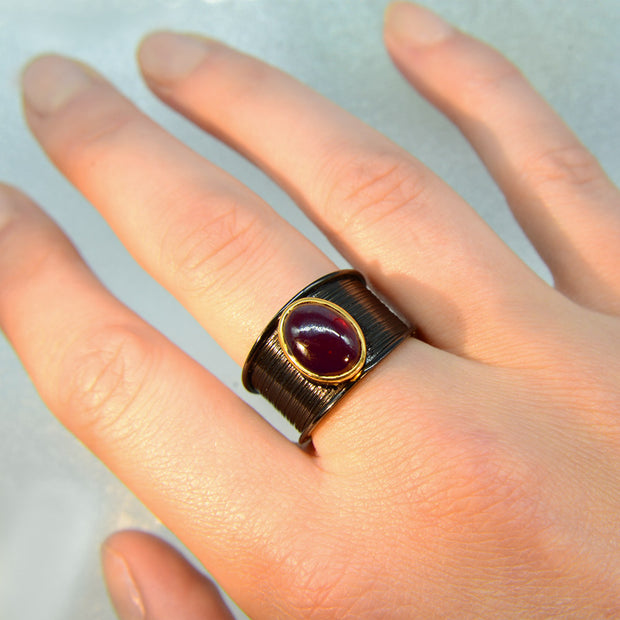 Hessonite Gem Rhodium Plated Silver Ring Size 7 1/2
