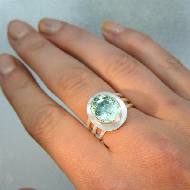 Faceted Aquamarine Silver Ring Size 6 1/2