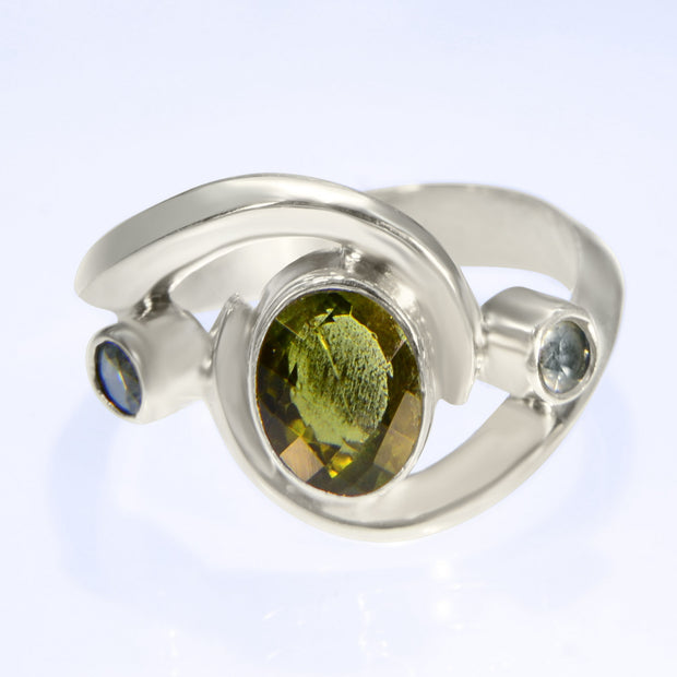 Green Tourmaline & Aquamarine Gemstone Ring Size 7
