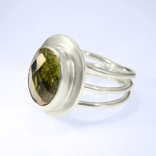 Checker Faceted Genuine Moldavite Silver Ring Size 8 1/2