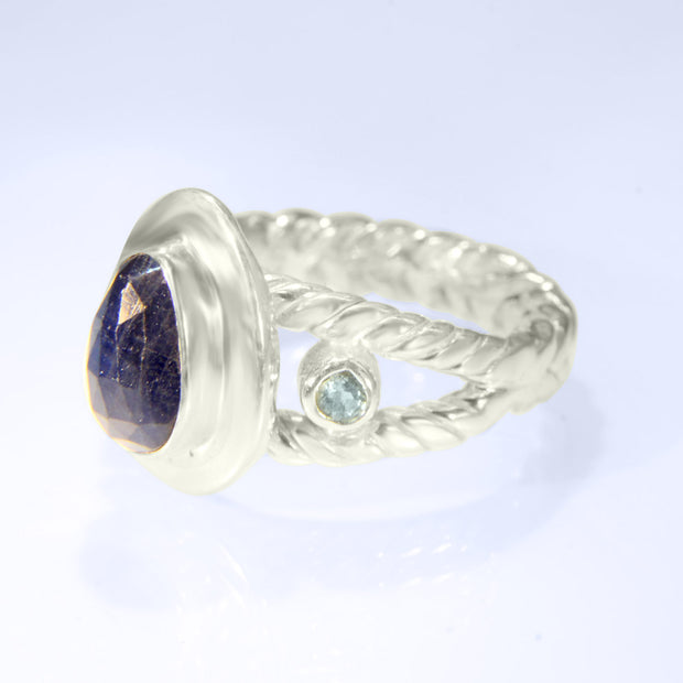 Checker Faceted Sapphire & Aquamarine Ring Size 7
