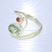 Faceted Aquamarine & Pink Tourmaline Ring Size 8 1/2