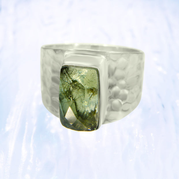 Genuine Faceted Moldavite Ring Size 10 1/2