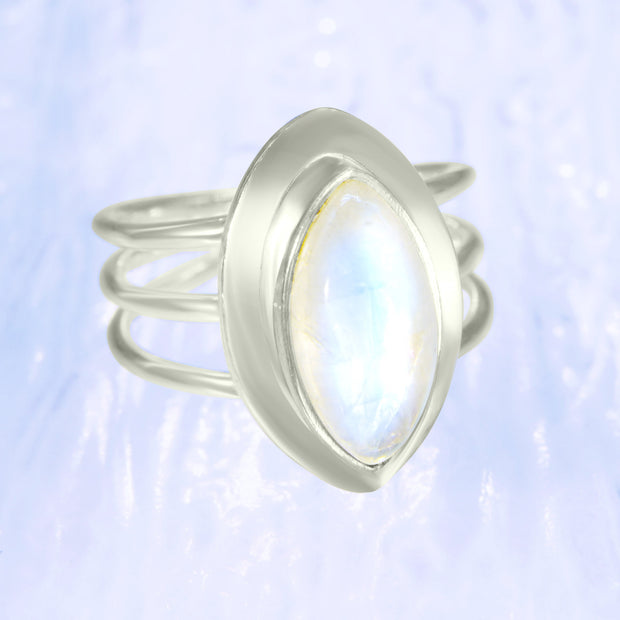 Celestial Blue Moonstone Silver Goddess Ring Size 7 1/2