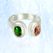 Vibrant Chrome Diopside & Pink Tourmaline Gemstone Ring Size 8