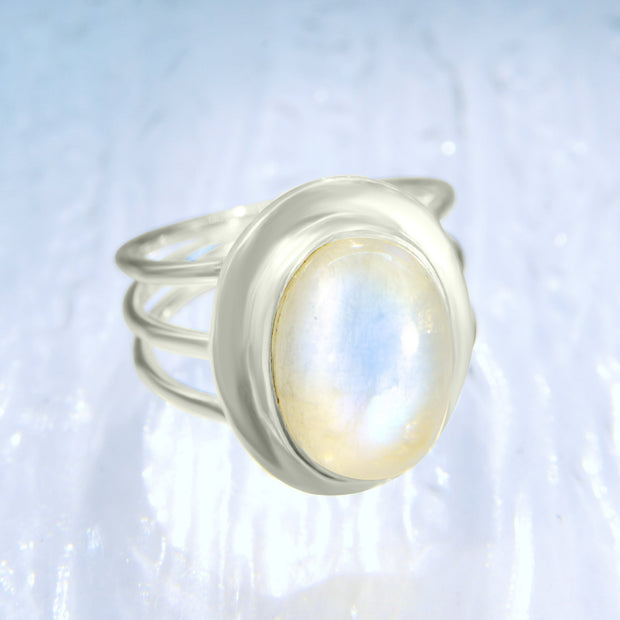 Beautiful Blue Moonstone Ring Size 8 - Arkadia Designs