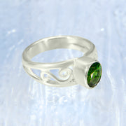 Chrome Diopside Silver Band Ring Size 6 1/2
