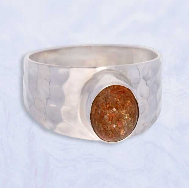 Men's Sunstone Silver Ring Size 12