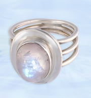 Rainbow Moonstone Ring Size 6 ½
