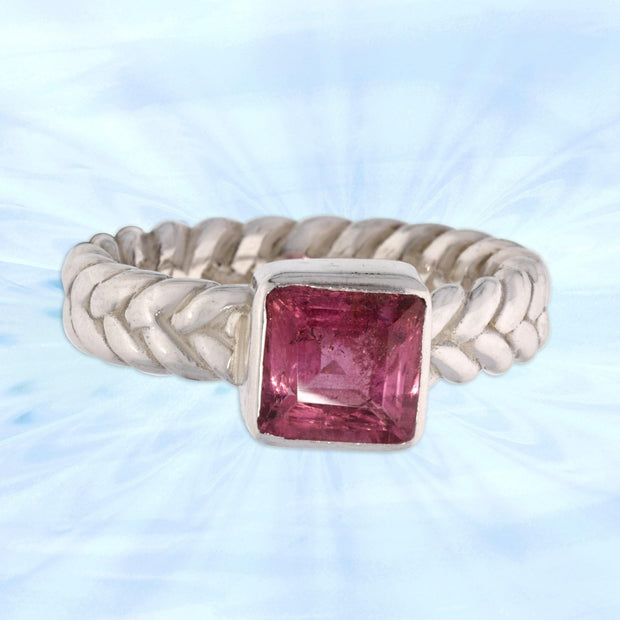 Rubellite Tourmaline Celtic Woven Ring Size 5 ½