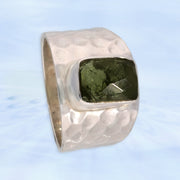 Genuine Checker Faceted Moldavite Ring Size 10 1/2