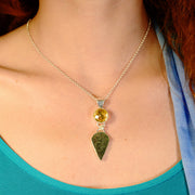 Citrine Gem & Raw Moldavite Healing Jewelry