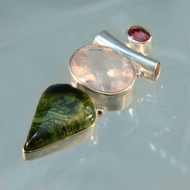 Rubellite Tourmaline, Faceted Rose Quartz & Moldavite Gem Pendant