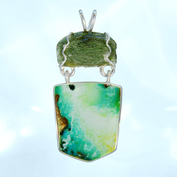 Beautiful Genuine Moldavite & Gem Silica Pendant