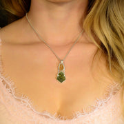 Golden Imperial Topaz & Shaped Moldavite Gem Pendant