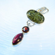 Polished Moldavite & Garnet Gemstones