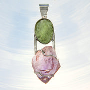 Genuine Moldavite & Double Terminated Amethyst Crystal Pendant
