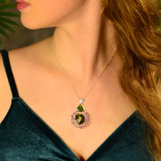 Bright Polished Moldavite & Amethyst Crystal Slice Pendant