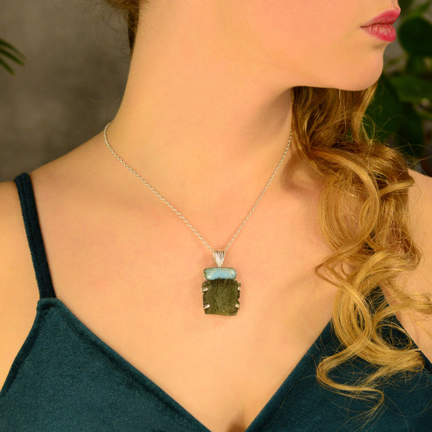 Larimar Gemstone & Real Moldavite Necklace