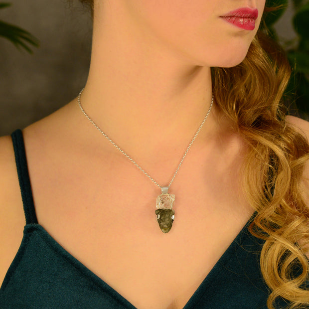 Double Terminated Quartz Crystal & Czech Moldavite Pendant
