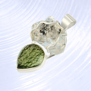 Herkimer Diamond & Polished Moldavite Pendant