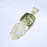 Raw Moldavite & Double Terminated Herkimer Crystal Pendant