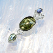 Blue Kyanite, Polished Moldavite & Aquamarine Pendant