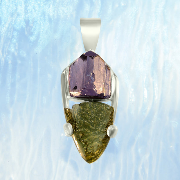 Purple Scapolite & Raw Moldavite Gemstone Pendant