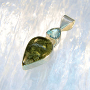 Aquamarine & Bright Green Moldavite Gem Pendant - Arkadia Designs