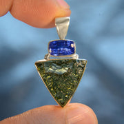 Faceted Kyanite & Czech Moldavite Pendant