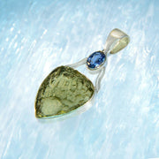 Beautiful Kyanite & Genuine moldavite Silver Pendant