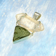 Double Terminated Quartz Crystal & Genuine Moldavite Pendant