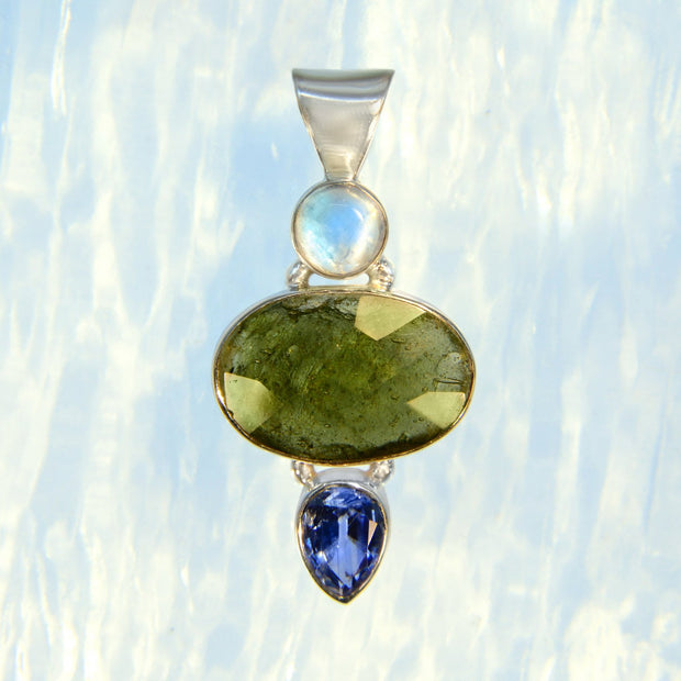 Rainbow Moonstone, Faceted Moldavite & Kyanite Gem Pendant - Arkadia Designs