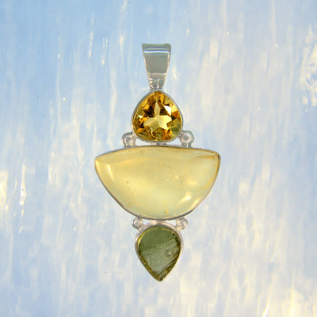 Bright Citrine, Libyan Desert Glass & Moldavite Pendant - Arkadia Designs