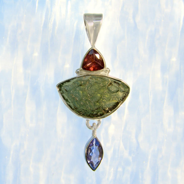 Pink Tourmaline, Genuine Moldavite & Tanzanite Pendant - Arkadia Designs