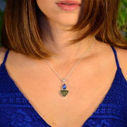 Blue Fire Labradorite & Genuine Moldavite Pendant - Arkadia Designs